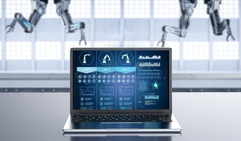 计算机显示器ai系统 向量例证