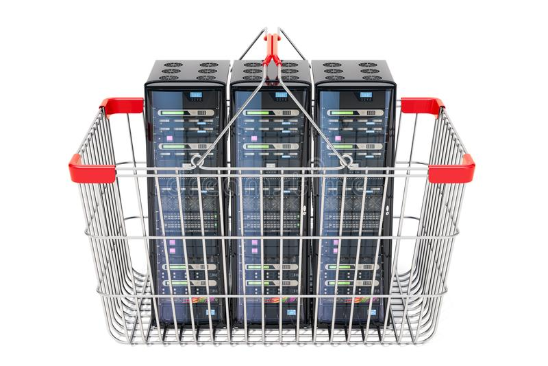 计算机服务器折磨在金属手提篮, 3D里面回报 库存例证