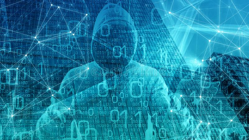 计算机机器学习数字大数据处理概念,三角背景概念,计算机数字,云彩计算 库存例证