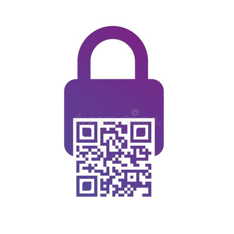 计算机条码锁象 safebox,条形码,活化作用的网代码 在空白背景查出的向量例证 皇族释放例证