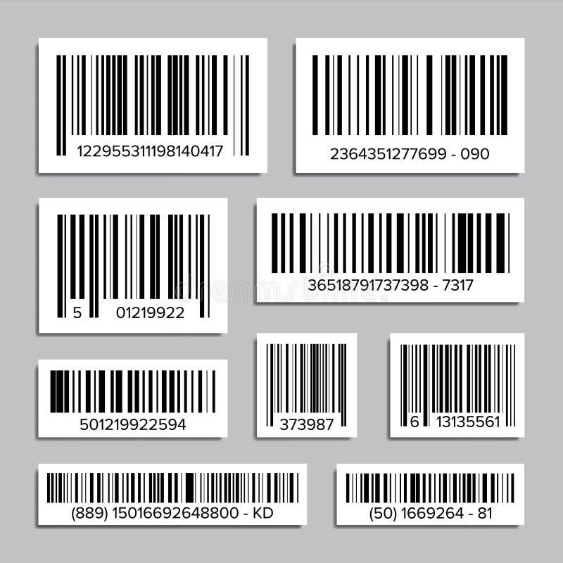 计算机条码集合传染媒介 扫描的抽象产品计算机条码象 UPC标签 按钮查出的现有量例证推进s启动妇女 向量例证