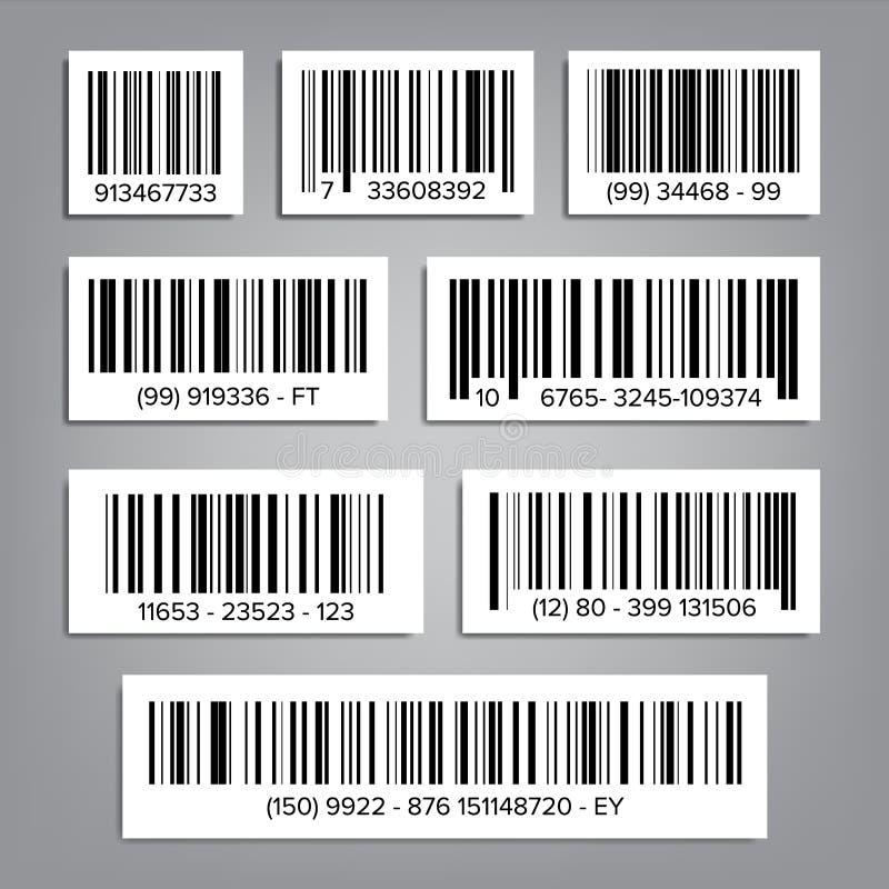 计算机条码集合传染媒介 UPC计算机条码 通用产品代码 市场商标 按钮查出的现有量例证推进s启动妇女 向量例证