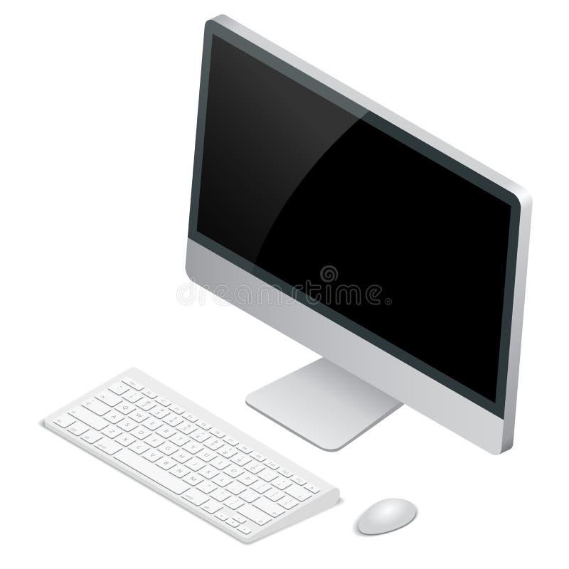 计算机桌面关键董事会鼠标无线 平的3d传染媒介等量例证 库存例证