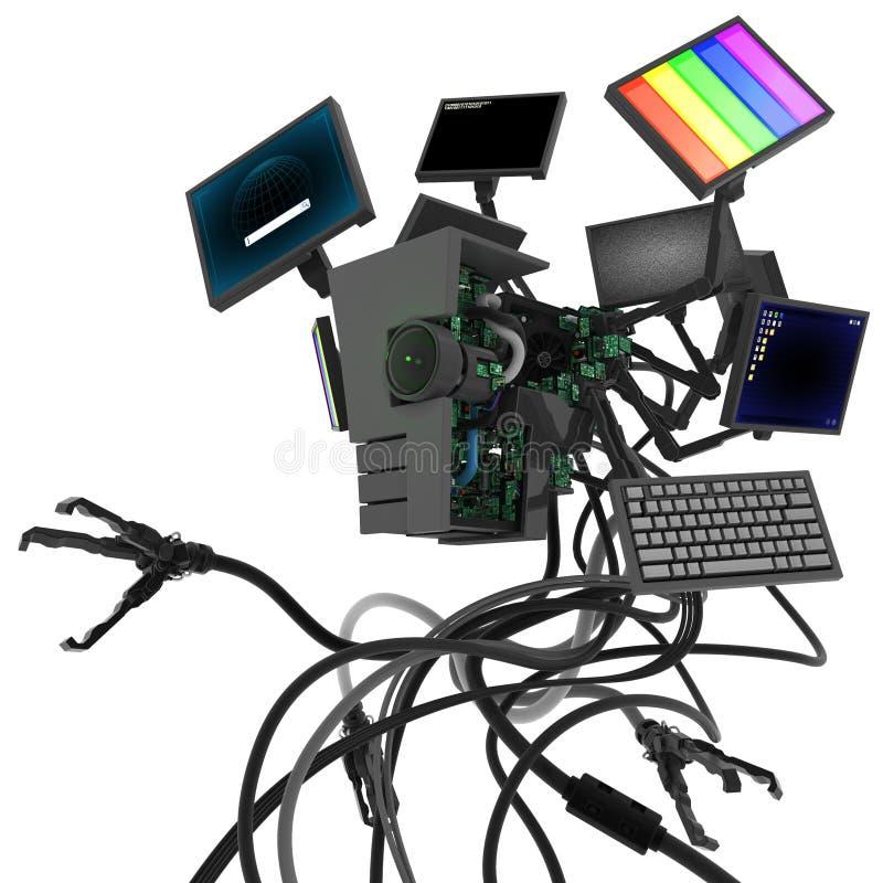 计算机桌面机器人 库存例证