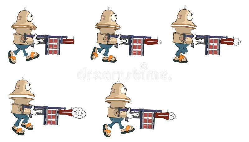 计算机游戏的漫画人物逗人喜爱的机器人 库存例证
