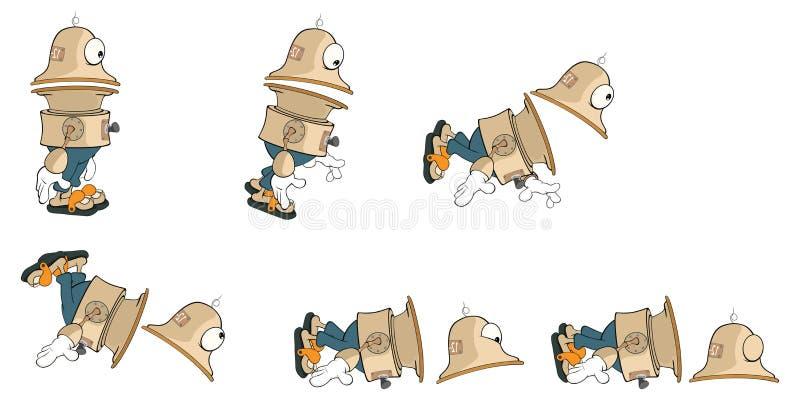 计算机游戏的漫画人物逗人喜爱的机器人 向量例证