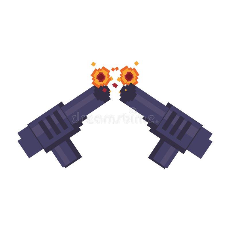 计算机游戏pixelated手枪 皇族释放例证