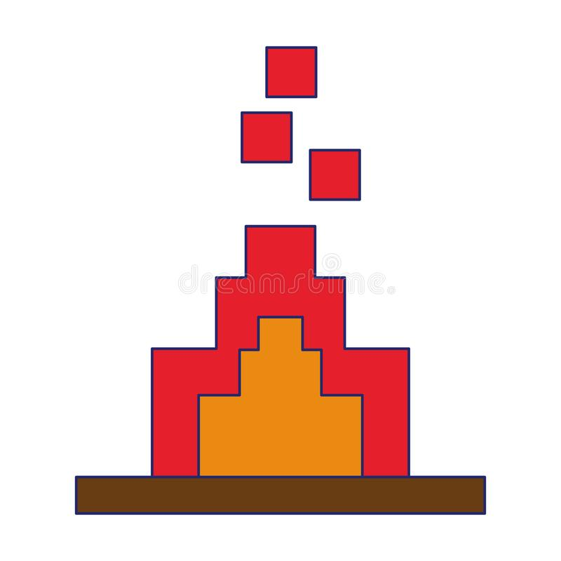 计算机游戏pixelated篝火被隔绝的标志蓝线 向量例证