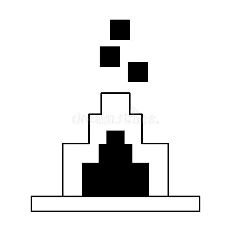 计算机游戏pixelated篝火被隔绝的标志 皇族释放例证