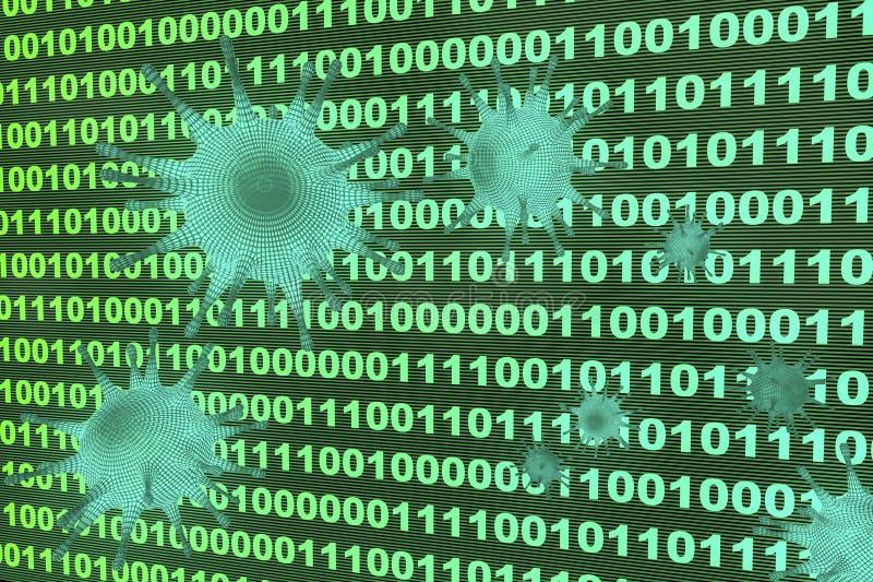 计算机病毒渗入系统 库存例证