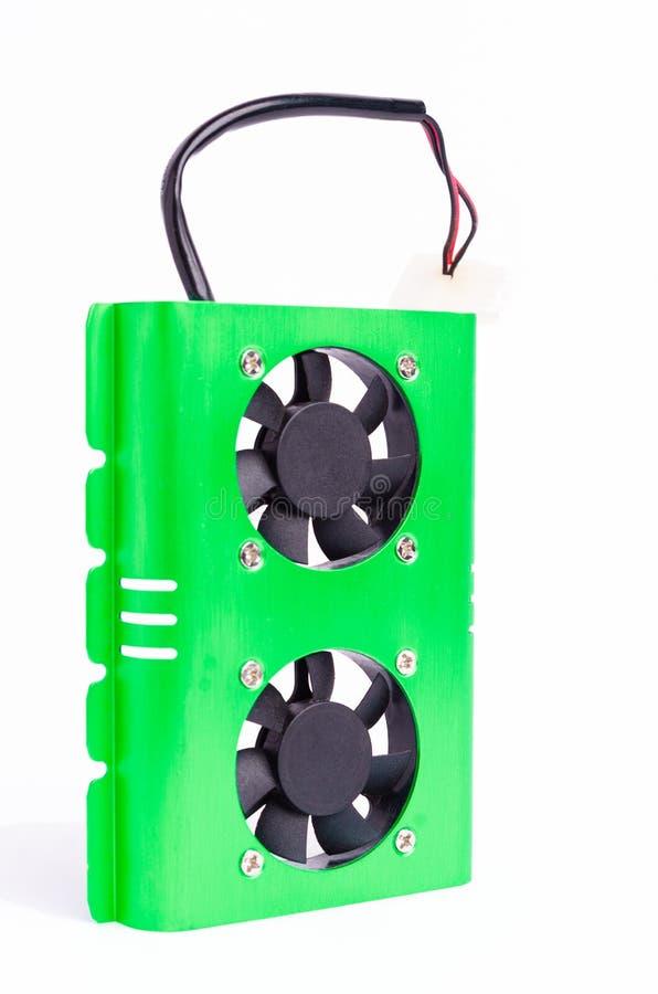 计算机硬盘致冷机(氖绿色) 库存照片