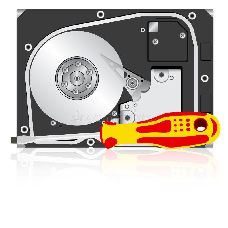 计算机磁盘驱动器困难螺丝刀 皇族释放例证