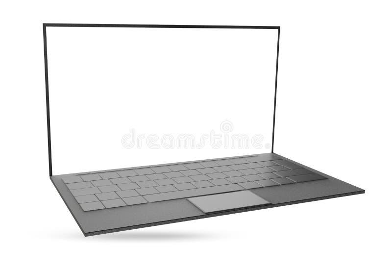 计算机笔记本在白色隔绝的膝上型计算机3d例证 库存例证