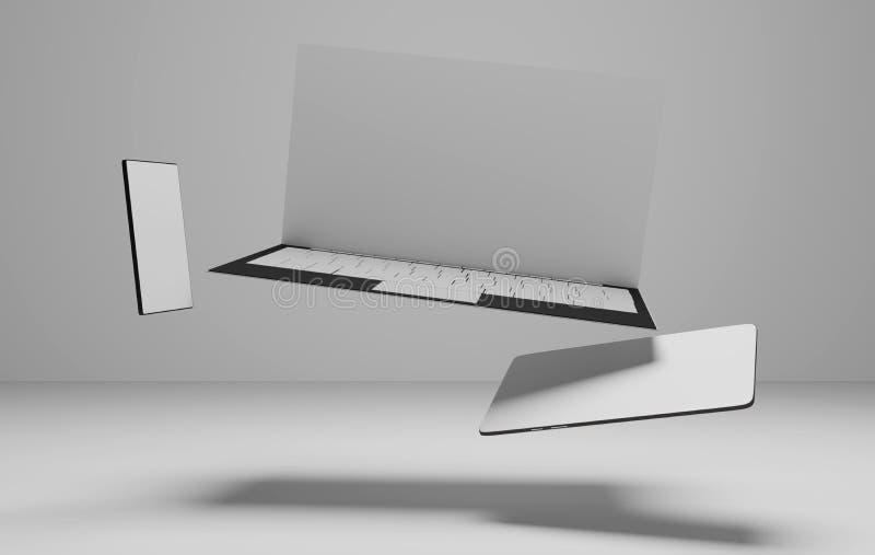 计算机笔记本片剂计算机和手机3d例证 皇族释放例证
