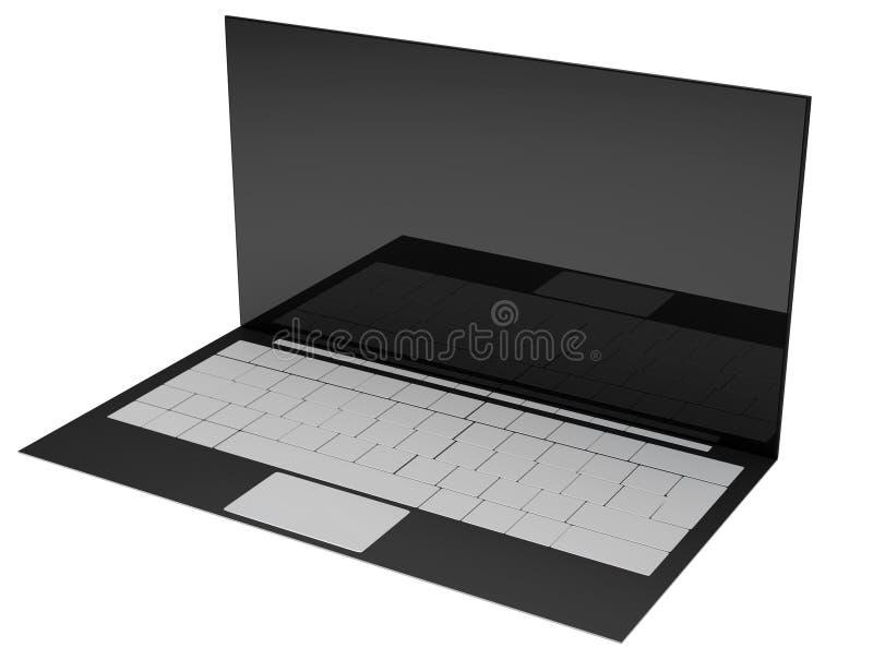 计算机笔记本膝上型计算机黑屏3d例证 向量例证