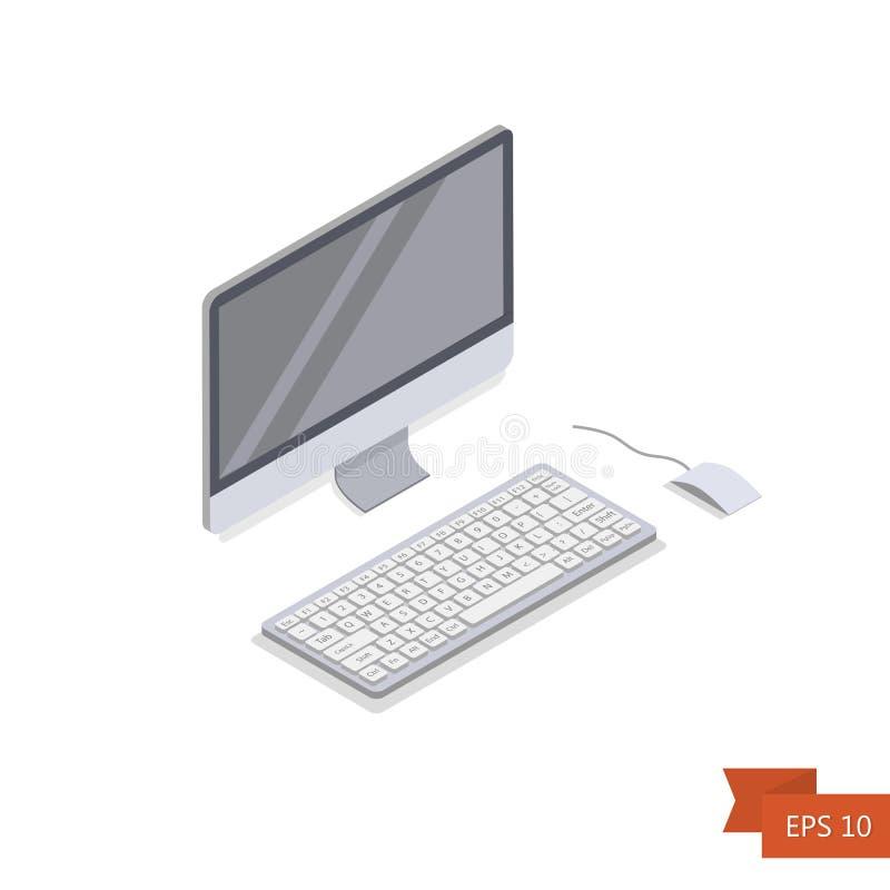 计算机等量象 向量 与键盘按钮和老鼠的等量白色个人计算机显示器 库存例证