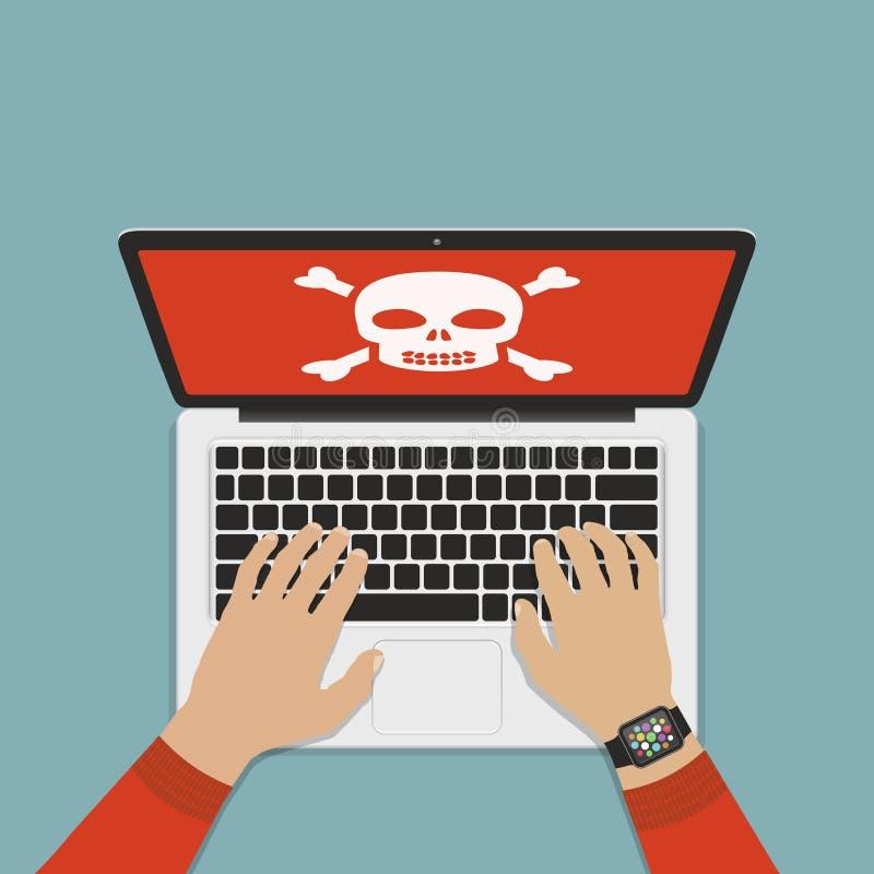 计算机系统错误的概念 计算机病毒,系统误差平的设计传染媒介例证 向量例证
