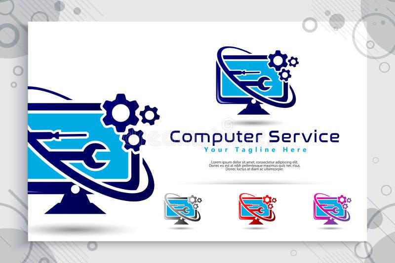 计算机维护与简单的显示器的构思设计、例证,嵌齿轮和板钳的传染媒介商标作为标志象数字 皇族释放例证