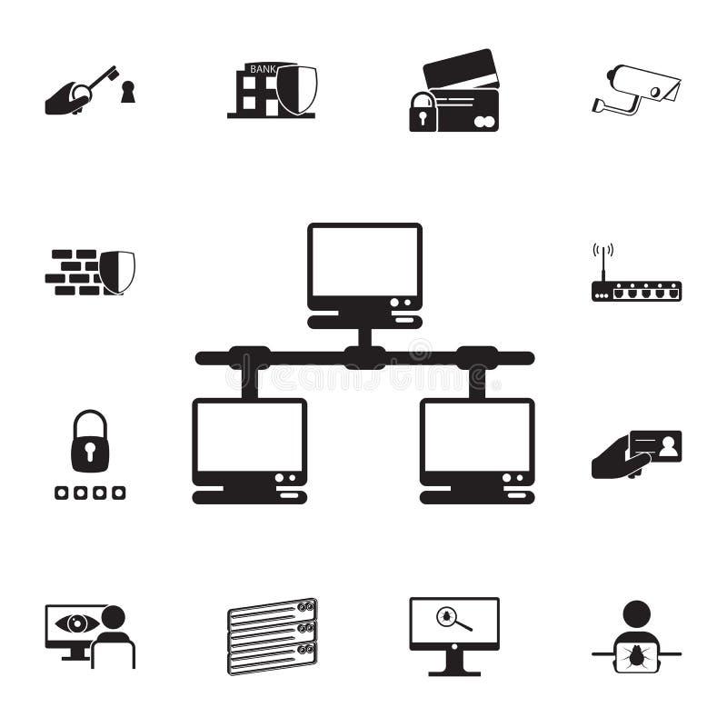计算机网络象 详细的套网络安全象 优质质量图形设计标志 其中一个汇集象为 向量例证
