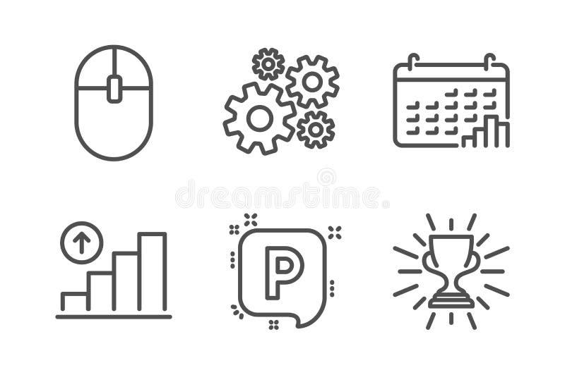 计算机老鼠,钝齿轮和图表图象集合 日历图表,停车处和战利品标志 ?? 向量例证