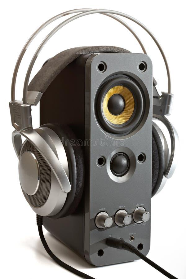 计算机耳机报告人 库存图片