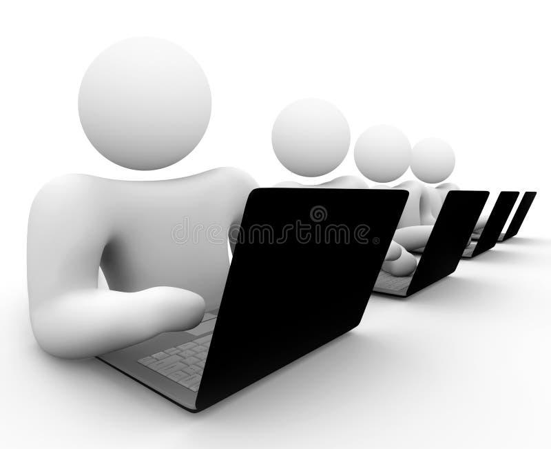 计算机膝上型计算机人合作工作 库存例证