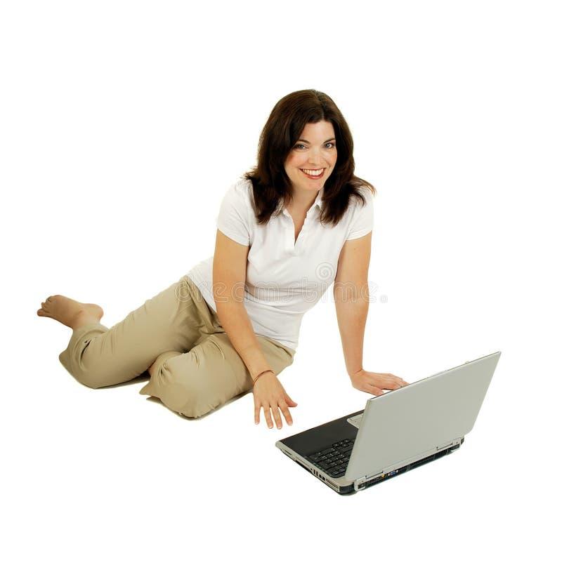 计算机膝上型计算机妇女 库存图片