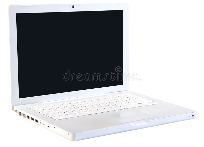 计算机膝上型计算机时髦的白色 库存照片