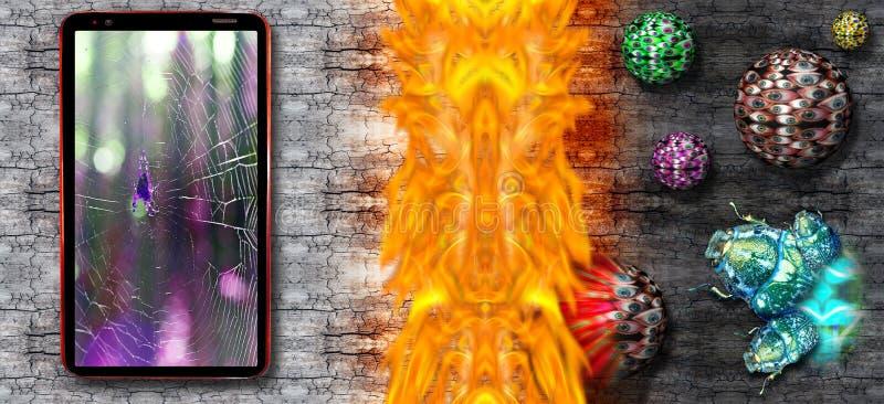 计算机臭虫和病毒在显示网和蜘蛛在中心的手机攻击在被保卫的破裂的木书桌背景 库存图片