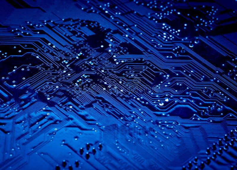 计算机蓝色电路板背景  免版税库存照片
