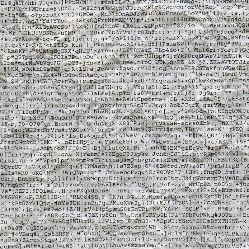 计算机被弄皱的乱语纸张打印输出 库存图片