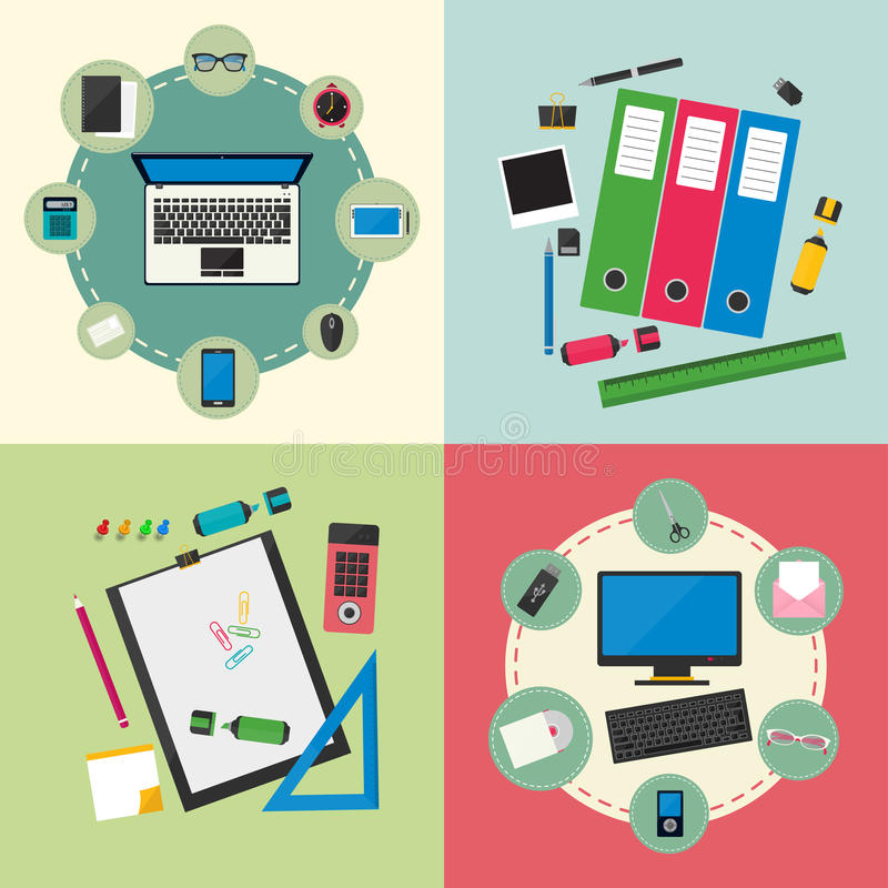 计算机设备、办公室对象和企业运作的元素 向量例证