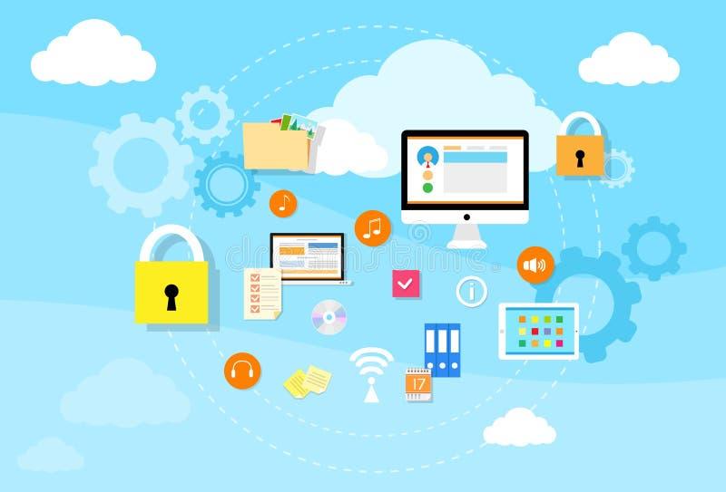 计算机设备数据云彩存贮安全 向量例证
