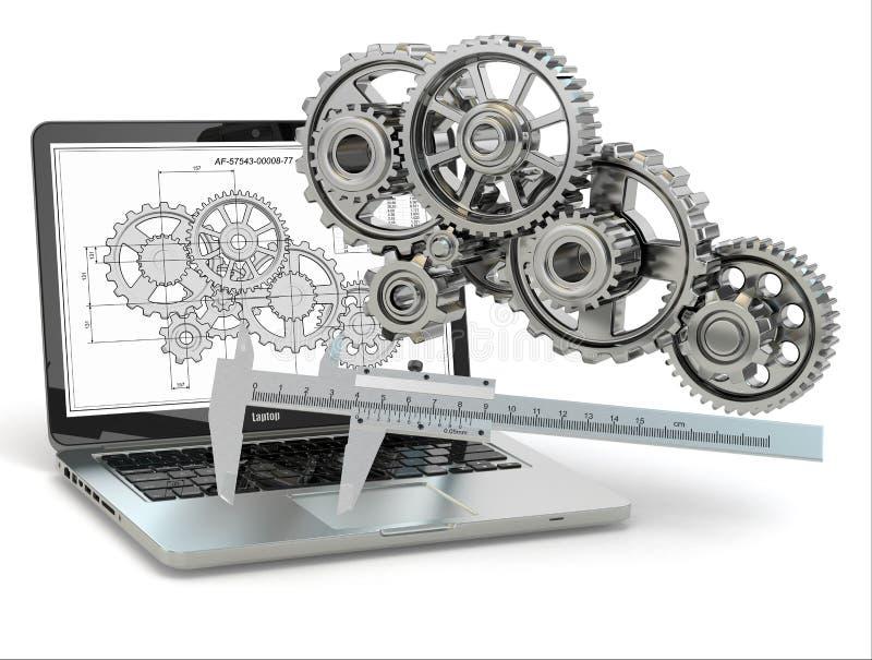 计算机设计工程学。膝上型计算机、齿轮、长圆规和草稿。 库存例证
