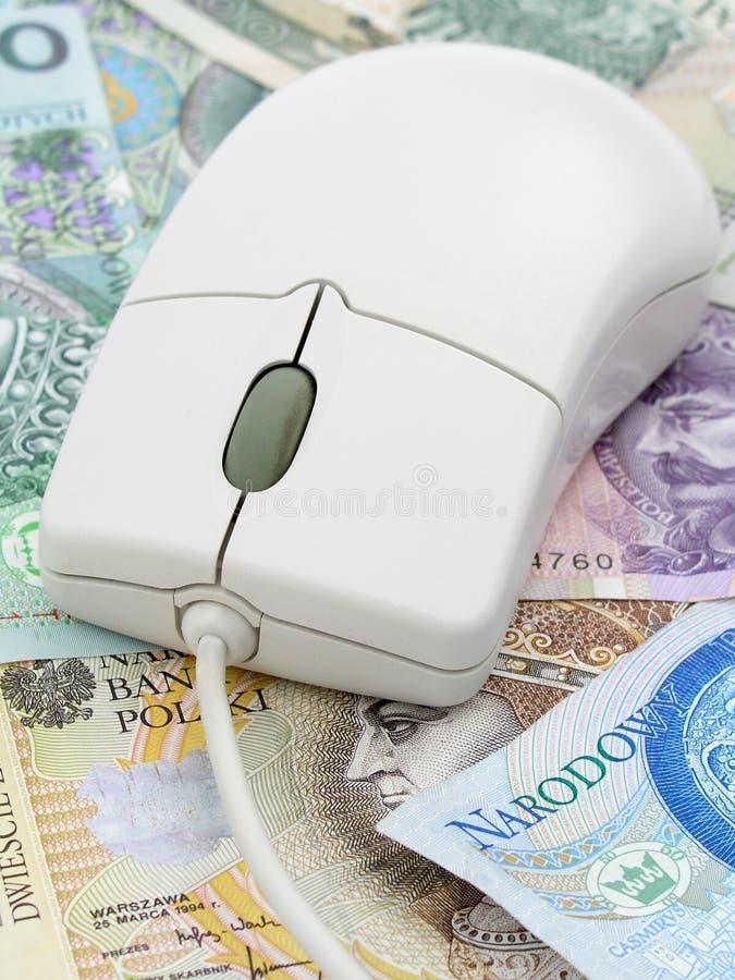 计算机货币鼠标 免版税库存图片