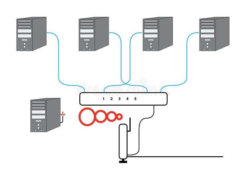 计算机部分绘制的网络 库存例证