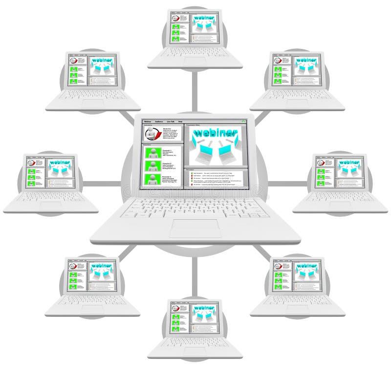计算机链接了webinar的网络 皇族释放例证