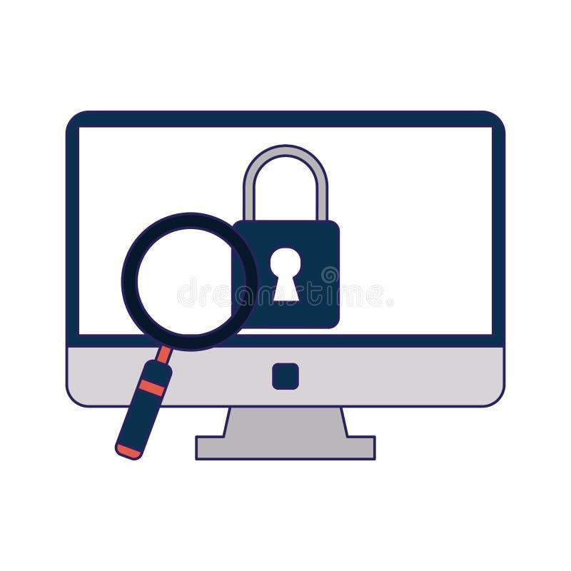 计算机锁与放大镜 向量例证