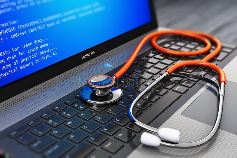 计算机错误和服务、修理和保养概念 库存例证