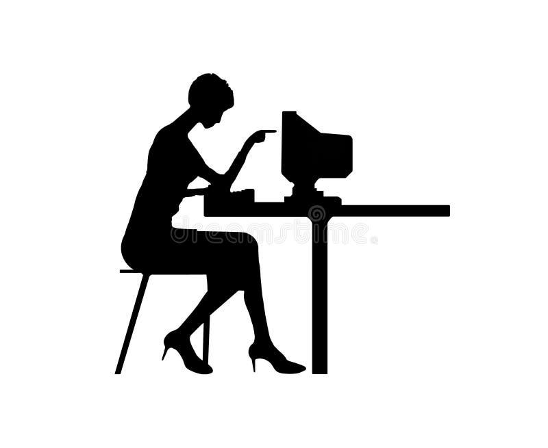 计算机键入的妇女 向量例证