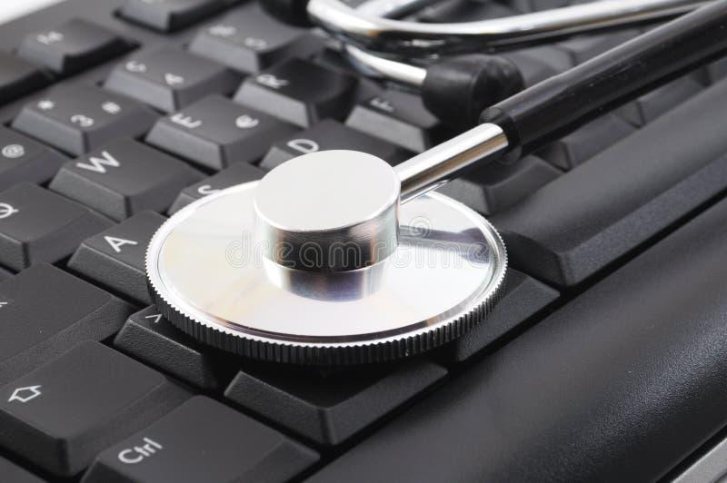 计算机键盘听诊器 库存图片