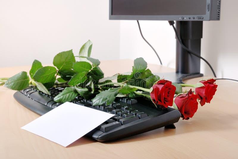 计算机键盘爱消息 免版税库存图片