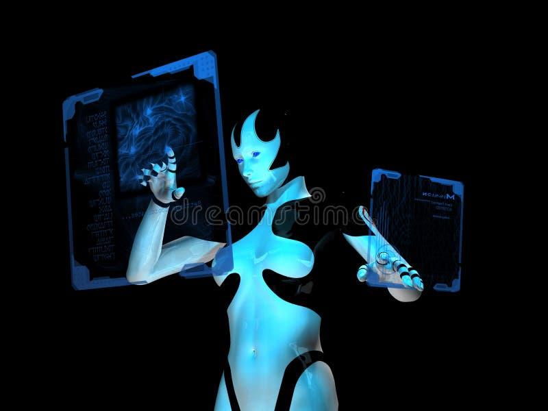 计算机靠机械装置维持生命的人全息&# 皇族释放例证