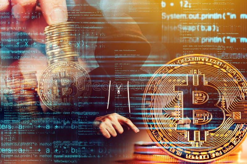 计算机黑客和Bitcoin cryptocurrency 免版税库存照片
