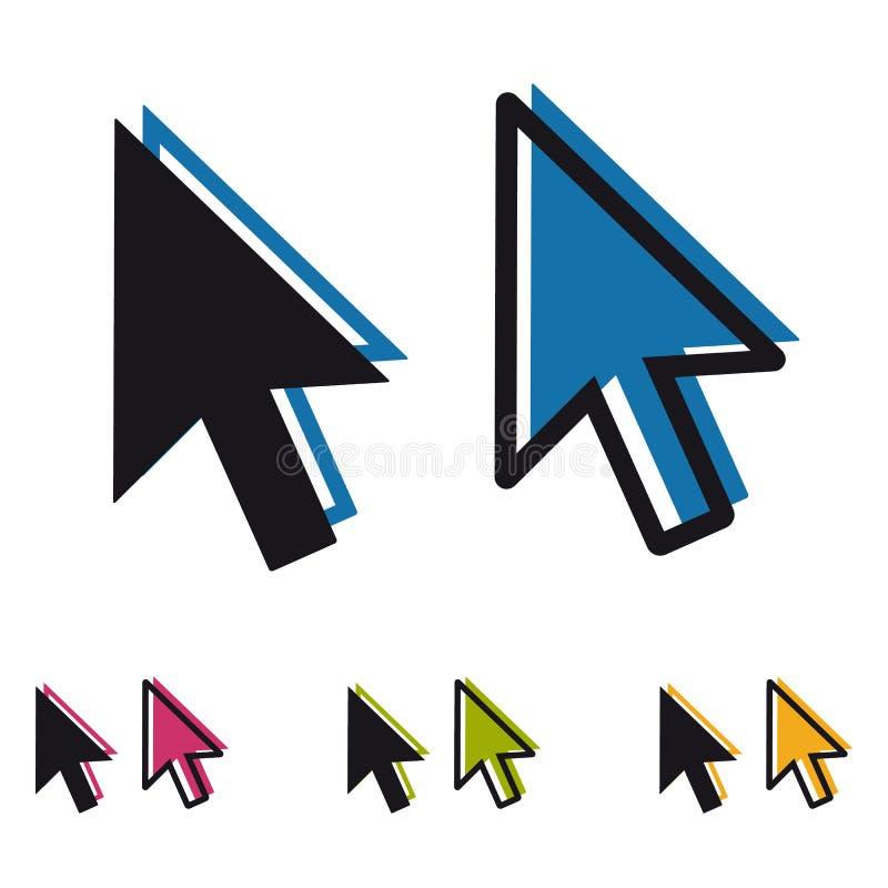 计算机鼠标点击在白色背景-五颜六色的传染媒介例证-隔绝的尖箭头 皇族释放例证