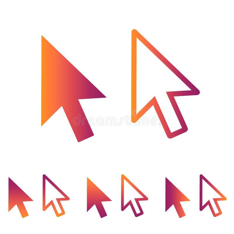 计算机鼠标点击尖箭头-阿普斯和网站的平的象 向量例证