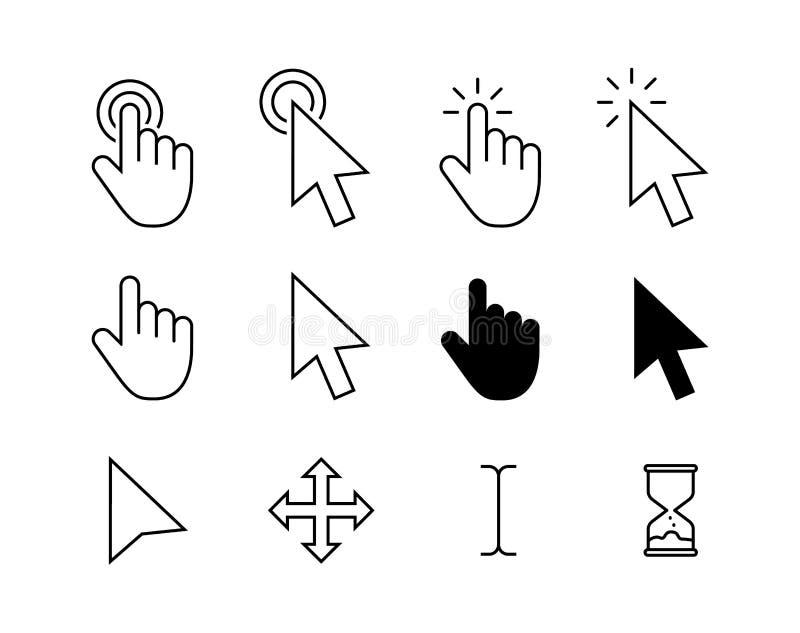 计算机鼠标点击游标灰色箭头象集合和装载的象 游标象 r 鼠标点击游标 库存例证