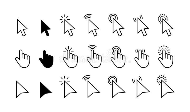 计算机鼠标点击游标灰色箭头象集合和装载的象 游标象 r 鼠标点击游标 向量例证