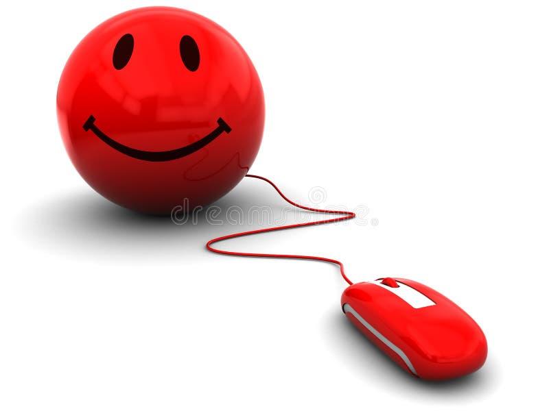 计算机鼠标面带笑容 皇族释放例证