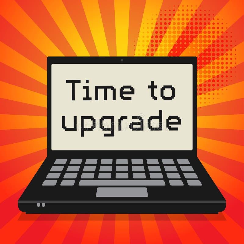 计算机,与文本时间的企业概念升级 皇族释放例证